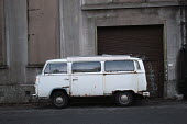 Camper van parked in a side street. - Paul Box - 2000s,2003,camper,dreams,hobbies,hobby,hobbyist,LFL Lifestyle leisure,old,parked,PARKING,rust,rusty,vehicle,vehicles,volkswagen,vw