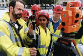 Sixth form pupils from Bristol take part in the CITB Construction Industry Training Board event. The event aims to encourage more women into the industry. Surveying - Paul Box - 01-11-2003