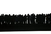 Crowds are silhouetted as they watch Concorde on last flight into Filton airport Bristol - Paul Box - 2000s,2003,aeroplane,aeroplanes,air transport,aircraft,airline,airplane,AIRPLANES,airport,AIRPORTS,aviation,BINOCULAR,Binoculars,bridge,cities,city,concorde,crowd,flight,FLIGHTS,flying,hobbies,hobby,h