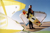 Kite surfing instructor Freshwater West beach Pembrokeshire. South Wales. - Paul Box - 14-08-2002