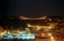 Clifton Suspension Bridge over the Avon Gorge, designed by Isambard Kingdom Brunel. Bristol at night. - Paul Box - 15-08-2002