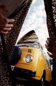 Looking out of a tent at a VW camper van - Paul Box - 2000s,2002,accommodation,camper van,camping,festival,FESTIVALS,glastonbury,Glastonbury Pop Festival,hippies,hippy,holiday,holiday maker,holiday makers,holidaymaker,holidaymakers,HOLIDAYS,housing,in,jo