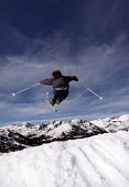 Skier jumping, Alps France - Paul Box - 2000,2000s,cold,eu,Europe,european,europeans,eurozone,Extreme Sports,france,french,holiday,holiday maker,holiday makers,holidaymaker,holidaymakers,HOLIDAYS,jump,jumper,jumping,LFL leisure,maker,makers