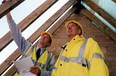 Site manager and engineer checking . Restoration of Whatley Manor, Malmesbury. Midas construction site. - Paul Box - 14-10-2002