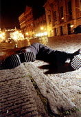 Young man collapsed in the gutter after drinking too much on a night out. Bristol - Paul Box - 23-11-2001