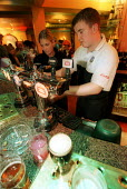 Bar staff at The Bohemia Pub in Bristol pouring pints - Paul Box - 23-11-2001