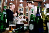 Students having a drink in the garden outside their Halls of residence. - Paul Box - 18-01-2002