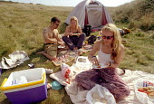 Sitting around eating, camping . Pembrokeshire. South Wales. - Paul Box - 14-06-2002
