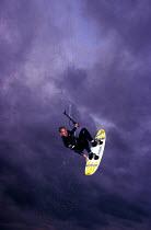 Kite surfer Aberaron Beach New Quay Cornwall - Paul Box - 2000,2000s,Beach,BEACHES,board,boards,COAST,coastal,coasts,Extreme Sports,holiday,holiday maker,holiday makers,holidaymaker,holidaymakers,holidays,Kite,kiteboard,kiteboarder,kiteboarders,kiteboarding,
