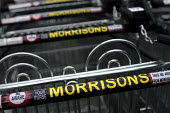 Morrisons supermarket , Cribbs Causeway, Bristol. a row of shopping trolly's - Paul Box - 09-01-2004