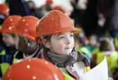 School pupils visiting Charlton Hayes, a new housing development by David Wilson and Barratt Homes, Bristol - Paul Box - 2010s,2013,child,CHILDHOOD,children,cities,city,Construction Industry,development,edu,educate,educating,education,educational,hard hat,hard hats,high,high visibility,highly,Homes,housing,jackets,juven