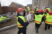School pupils visiting Charlton Hayes, a new housing development by David Wilson and Barratt Homes, Bristol - Paul Box - 12-03-2013