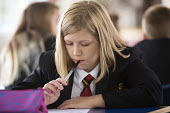 A pupil studying at Clevedon school, Clevedon. - Paul Box - 2010s,2013,Academies,Academy,adolescence,adolescent,adolescents,child,CHILDHOOD,children,class,classroom,classrooms,color,colorful,colorfull,colors,colour,colourful,colours,CONCENTRATE,concentrating,e