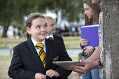 A younger pupil talks to a sixth former, Clevedon school, Clevedon. - Paul Box - 10-09-2013