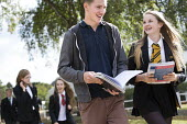 Pupils and sixth formers walking to class, Clevedon school, Clevedon. - Paul Box - 16-09-2013