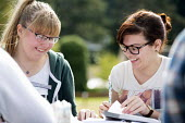 Sixth form students studying outside, Clevedon school, Clevedon. - Paul Box - 23-09-2013