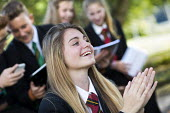 pupils studying outside, Clevedon school, Clevedon. - Paul Box - 2010s,2013,Academies,Academy,activities,adolescence,adolescent,adolescents,applauding,applause,child,CHILDHOOD,children,clapping,edu,educate,educating,education,educational,EMOTION,EMOTIONAL,EMOTIONS,