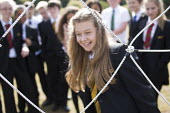 Pupils get involved with a team building exercise, Clevedon school, Clevedon. - Paul Box - 16-09-2013