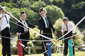 Pupils get involved with a team building exercise, Clevedon school, Clevedon. - Paul Box - 23-09-2013