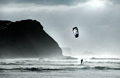 A kitesurfer at Monte Clerigo, The Algarve, Portugal - Paul Box - 23-02-2013