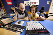 DJs working in a studio for local radio station Vibe 101. - Paul Box - 07-09-2005