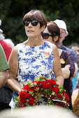 Dawn Primarolo MP Labour Party laying a wreath on the grave of James Hammett, Wreath Laying, Tolpuddle Martyrs Festival 2014 - Paul Box - 20-07-2014
