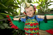 Children playing fancy dress in the Wildwalk-At-Bristol. - Paul Box - @bristol,2000s,2006,a,ACE,arm,arms,artificial,bird,birds,Botanical,boy,boys,centre,centres,child,CHILDHOOD,children,cities,city,costume,costumes,culture,dress,dressing up,ecology,ecology-related,edu e