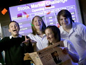 Pupils winning a national competition, concerning stocks and shares. At Abersychan Comprehensive School of PontyPool, Wales. - Paul Box - ,(FT),2000s,2006,Abersychan,adolescence,adolescent,adolescents,and,boy,boys,British,Broadsheet,business,capability,celebrate,celebrates,celebrating,celebration,celebrations,challenge,child,CHILDHOOD,c