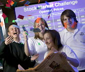 Pupils winning a national competition, concerning stocks and shares. At Abersychan Comprehensive School of PontyPool, Wales. - Paul Box - (FT),2000s,2006,Abersychan,adolescence,adolescent,adolescents,and,boy,boys,British,Broadsheet,business,capability,celebrate,celebrates,celebrating,celebration,celebrations,challenge,child,CHILDHOOD,ch