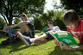 Sixth form students studying outside, at Clevedon Community School. - Paul Box - 08-07-2006