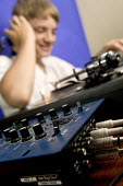 A pupil using a soundboard, at Clevedon Community School. - Paul Box - 08-07-2006