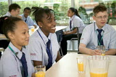 Pupils at breaktime, in the canteen at City Academy, Bristol. - Paul Box - 28-06-2006
