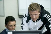 Celebrity football player David Beckham, visits the City Academy Bristol. - Paul Box - 19-03-2007
