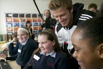 Celebrity football player David Beckham, visits the City Academy Bristol. - Paul Box - (IT),2000s,2007,Academies,academy,adolescence,adolescent,adolescents,Angeles,Beckham,Becks,boom,Bristol,camera,cameras,celeb,celebrities,celebrity,celebs,child,CHILDHOOD,children,cities,City,class,cla