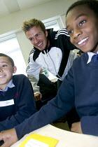 Celebrity football player David Beckham, visits the City Academy Bristol. - Paul Box - (IT),2000s,2007,Academies,academy,adolescence,adolescent,adolescents,Angeles,Beckham,Becks,boy,boys,Bristol,celeb,celebrities,celebrity,celebs,child,CHILDHOOD,children,cities,City,class,classes,classr