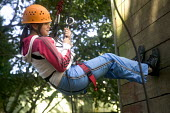 Young people taking part in an activity week at PGL Osmington Bay Centre in Weymouth. - Paul Box - 2000s,2007,Abseil,Abseiling,activities,Activity,adolescence,adolescent,adolescents,adventure,adventurecourse,ascend,ascended,ascending,Bay,camp,camps,Climbing,Connexions,course,courses,dangerous,des