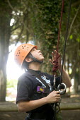 Young people taking part in an activity week at PGL Osmington Bay Centre in Weymouth. - Paul Box - 2000s,2007,Abseil,Abseiling,Activity,adolescence,adolescent,adolescents,adventure,adventurecourse,Bay,boy,boys,camp,camps,child,CHILDHOOD,children,Climbing,Connexions,course,courses,dangerous,descen
