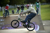A boy performing BMX tricks at a Skate Park, in Preston. - Paul Box - 25-06-2005