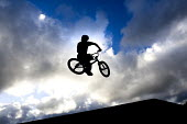 A boy performing BMX tricks at Llanlishen Skate Park, in Cardiff. - Paul Box - 23-05-2005