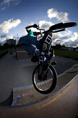 A boy performing BMX tricks at Llanlishen Skate Park, in Cardiff. - Paul Box - 23-05-2005