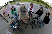 A group of friends on their BMXs at Llanlishen Skate Park, in Cardiff. - Paul Box - 23-05-2005