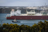 The first LNG (liquefied natural gas) Q-flex tanker arriving from Qatar to the South Hook terminal, at Milford Haven. - Paul Box - 25-03-2009