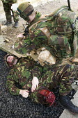 British troops training on Salisbury plain in a mock afghan village to prepare them to fight insurgents in the war of occupation in Afghanistan - Paul Box - 13-02-2008