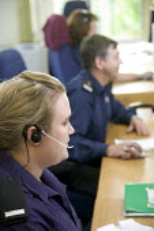 Avon Fire Control Centre, Bath. - Paul Box - 2000s,2007,call centre,call centre,call centres,capitalism,centre centres,communicating,communication,control centre,control room,DIA,earphone earphones,emergency calls,emergency emergencies,emergency