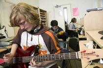 Playing quitar in the music studioBristol City Academy, Bristol. - Paul Box - 09-05-2007