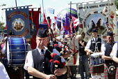 Prison officers pipe band lead the Parade of banners. Tolpuddle Martyrs festival. - Paul Box - 21-07-2010