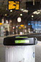 Recycling bins at Temple Meads railway station, Bristol. - Paul Box - 2010s,2014,bin,bins,Bristol,cities,city,EBF,Economic,Economy,Network,platform,PLATFORMS,Rail,railway,RAILWAYS,RECLAIM,RECLAIMABLE,RECLAIMED,Recyclables,RECYCLE,recycled,RECYCLES,recycling,reprocess,re
