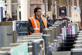 Railway staff and ticket turnstiles, Temple Meads railway station, Bristol. - Paul Box - 15-10-2014