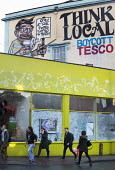 Think local boycott Tesco mural above Love Bristol Pop-Up Bakery, Stokes Croft, Bristol. - Paul Box - 16-10-2014
