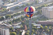 The Bristol International Balloon Fiesta, Bristol. - Paul Box - 2010s,2014,Aerial View,balloon,ballooning,balloons,Bristol,cities,city,festival,festivals,flight,flights,fly,flying,from the air,height,high up,Leisure,LFL,LIFE,PEOPLE,RECREATION,RECREATIONAL,urban